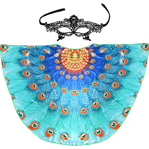 Peacock Feather Wing for Women, Adult Fairy Bird Costume for Pretend Party Favors Sky-Blue]()