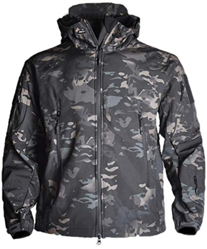 HARGLESMAN Mens Tactical Jacket Lightweight Waterproof Soft Shell Hooded Outdoor Military Winter