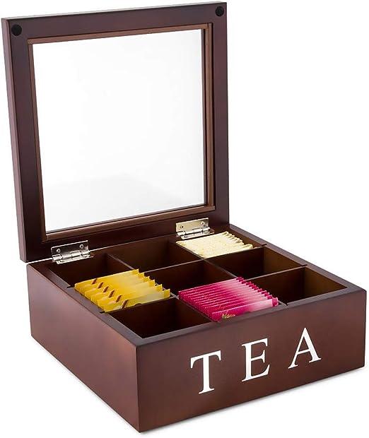 SONSAN - Caja de té de madera, 9 compartimentos, tapa de cristal con bisagras, color negro: Amazon.es: Hogar