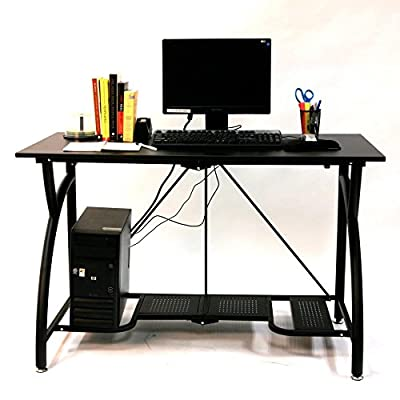 Origami Folding Computer Desk - Durable steel frame with wood top in black 2-piece folding mechanism with frame lock Features removable tabletop, vented shelves, and footrest - writing-desks, living-room-furniture, living-room - 517RRFp8JnL. SS400  -