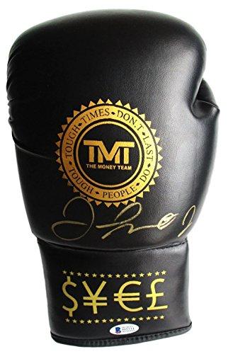 Floyd Mayweather Jr Signed Black TMT Boxing Glove Beckett BAS