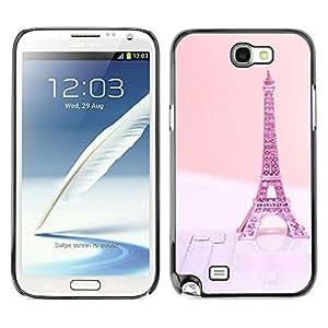 X-ray Impreso colorido protector duro espalda Funda piel de Shell para SAMSUNG Galaxy Note 2 II / N7100 - Eifel Paris Pink Peach France