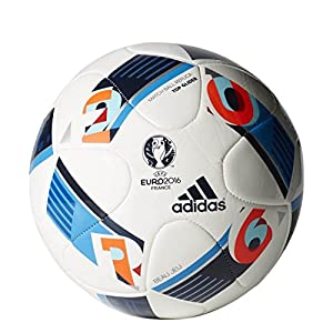 adidas Herren Ball EURO 2016 Top Glider, White/Bright Blue/Night Indigo, 5,...
