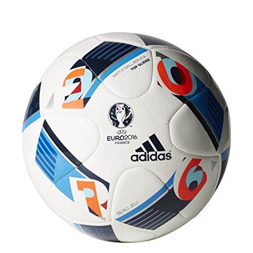 adidas Herren Ball EURO 2016 Top Glider, White/Bright Blue/Night Indigo, 5, AC5448