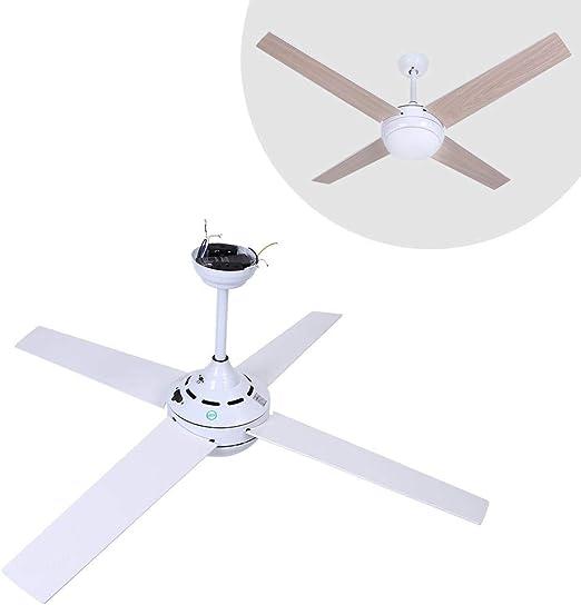 GOTOTP 52 Pulgadas Ventilador de Techo de Madera con Luz con Mando a Distancia para Dormitorio Interior, Sala de Estar(Grano de Madera + Blanco): Amazon.es: Hogar