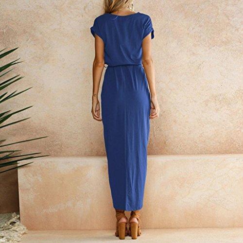 Fendue Partie Robe Femme LuckyGirls Maxi De Bleu Long Plage Vacances Dcontracte Dames Ceinture Robe RgqXWvW