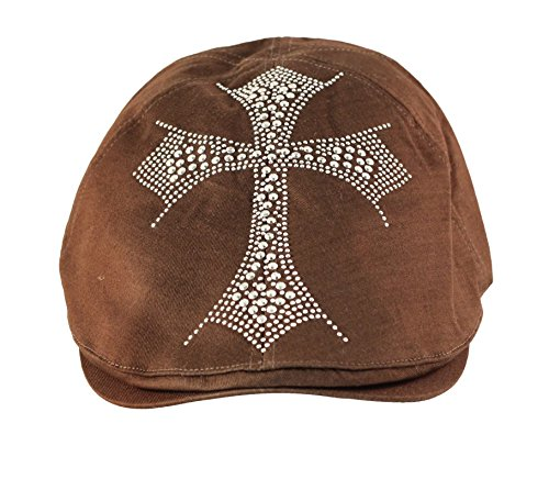 Rhinestone Adorned Holy Cross Fashion Newsboy Jay Gatsby Hat Cap