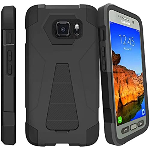 Samsung Galaxy S7 Active case, S7 Active Case [SHOCK FUSION] High Impact Dual Layer Case with Kickstand by Miniturtle - Black Sales