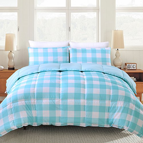 Box Blue Gingham - Prime Bedding Ultra Soft Reversible Down Alternative Comforter - All Season Comforter and Year Round Comfort - Microfiber and Box Stitched, 3D Hollow Siliconized Filling (Twin, Baby Blue Gingham)
