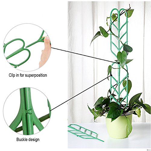 Aniann Garden Trellis for Mini Climbing Plants, Leaf Shape Potted Plant Support Vines Vegetables Vining Flowers Patio Climbing Trellises for Ivy Roses Cucumbers Clematis Pots Supports (6 Pack) by Aniann (Image #2)