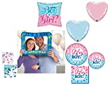 Bombay Bongo Gender Reveal Boy Party Supplies Decorations for 16 - Plates Napkins Photo Prop Balloons Confetti Bundle of 70 Items