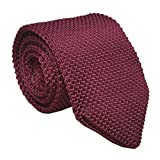 Men Wine Red Retro Cool Designed Tie New Rosewood Textured Necktie For Groomsmen