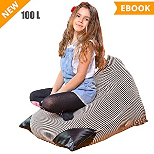 Kids Evo Stuffed Animal Storage Bean Bag Chair - Large Toy Organizer for Children, Teens and Adults (fits 26Gal/100L) - Premium Cotton Canvas Cover (Dark Grey) - Also Comes in 200L Size