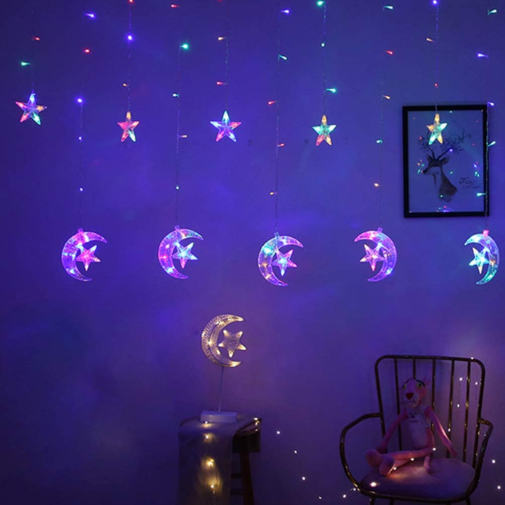 Uonlytech LED Star Curtain Lights 138 LED Moon Star String Light Window Curtain String Light for Wedding Party Home Garden Bedroom 2.5M, Warm White