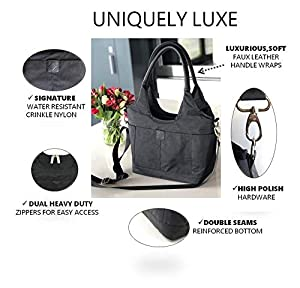 Lunch Bag for Women | Insulated Fashionable Lunch-Box | Large Crossbody Womens Tote for Work Meal Prep Bags | Big Purse has Removable Shoulder Strap and 4 Pockets | Modern Lunch-Boxes Black (Color: Black Crossbody, Tamaño: L)
