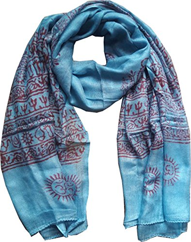 KVR Fashion style Om cotton religious Hindu Indian printed Scarf, Size 180x90 cm (Blue-Shiva print) (Religious Accessories)