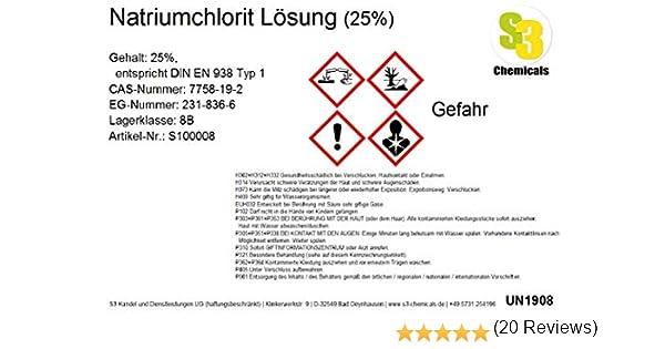 Sodio chlorit Solución (25%), 2,5 Litros: Amazon.es: Hogar