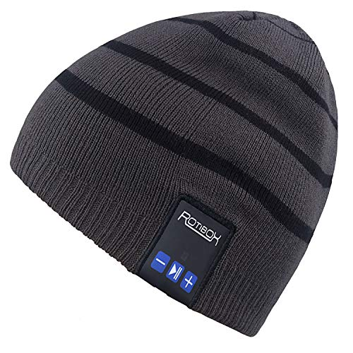 Mydeal Winter Unisex Adult Wireless Bluetooth Beanie Hat Cap Ear Covers with Headphones Headsets Earphones Speakers Music Audio Hands-free Phone Call for Sports Fitness Gym Exercise Workout - Gray