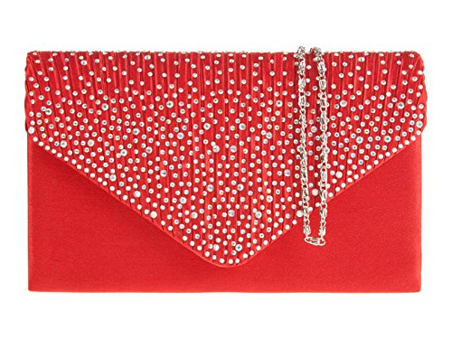 BAG LADIES HAND Red CLUTCH DIAMANTE fi9 PROM BLING BRIDAL EVENING PURSE PARTY HANDBAG zgpqwdB8