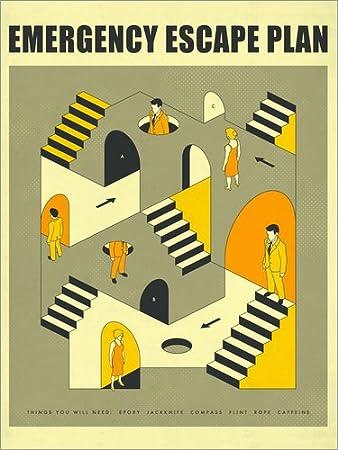 Unbekannt Alu Dibond 30 x 40 cm: Notfall Escape Plan 3 von Jazzberry ...