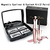Magnetic Eyeliner and False Eyelash Kit, 2 Pairs 3D Reusable Fake Magnetic Eyelash Set No-glue Lash