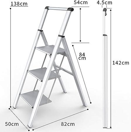 LIXIONG Escalera Plegable 5 Pasos De Múltiples Fines Fuerte Capacidad De Carga Escalera De Extensión (Color : La Plata, Tamaño : 50x82x138CM): Amazon.es: Hogar