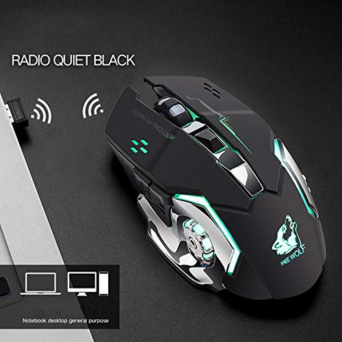 Leoie Rechargeable Wireless Silent LED Backlit Gaming Mouse USB Optical Mouse for PC White