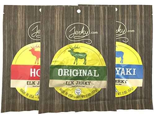 All Natural Elk Jerky Sampler - TESTER 3 PACK - Original Elk, Teriyaki Elk and Hot Elk - World Famous, Small Batch Elk Jerky - 6 total oz.
