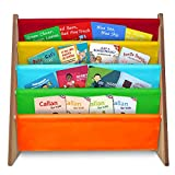 Fineway. 4 Tier Kids Book Storage Rack Wooden Sling Bookshelf Childrens Bookcase Shelves – With Soft Nylon Fabric – Ideal Story Books Organiser For Your Little ones. - Multi Coloured
