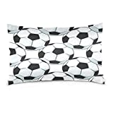 ALAZA Black White Football Soccer Ball Cotton Lint Pillow Case,Double-sided Printing Home Decor Pillowcase Size 16''x24'',for Bedroom Women Girl Boy