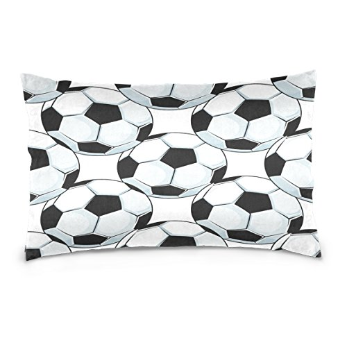 ALAZA Black White Football Soccer Ball Cotton Lint Pillow Case,Double-sided Printing Home Decor Pillowcase Size 16''x24'',for Bedroom Women Girl Boy by ALAZA