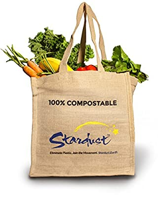 Stardust Reusable Eco-friendly Jute Grocery Bags, Compostable Tote 3-Pack