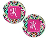 Monogrammed Car Coasters - Single Initial K