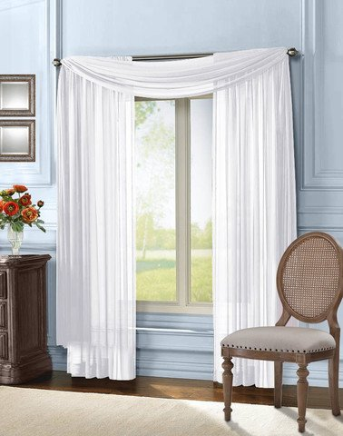 Empire Home Solid White Sheer Voile Scarf Valance 216