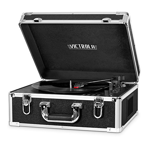 Victrola 3-Speed Bluetooth Suitcase Turntable with CD Player and Speakers, Black by Innovative Technology
