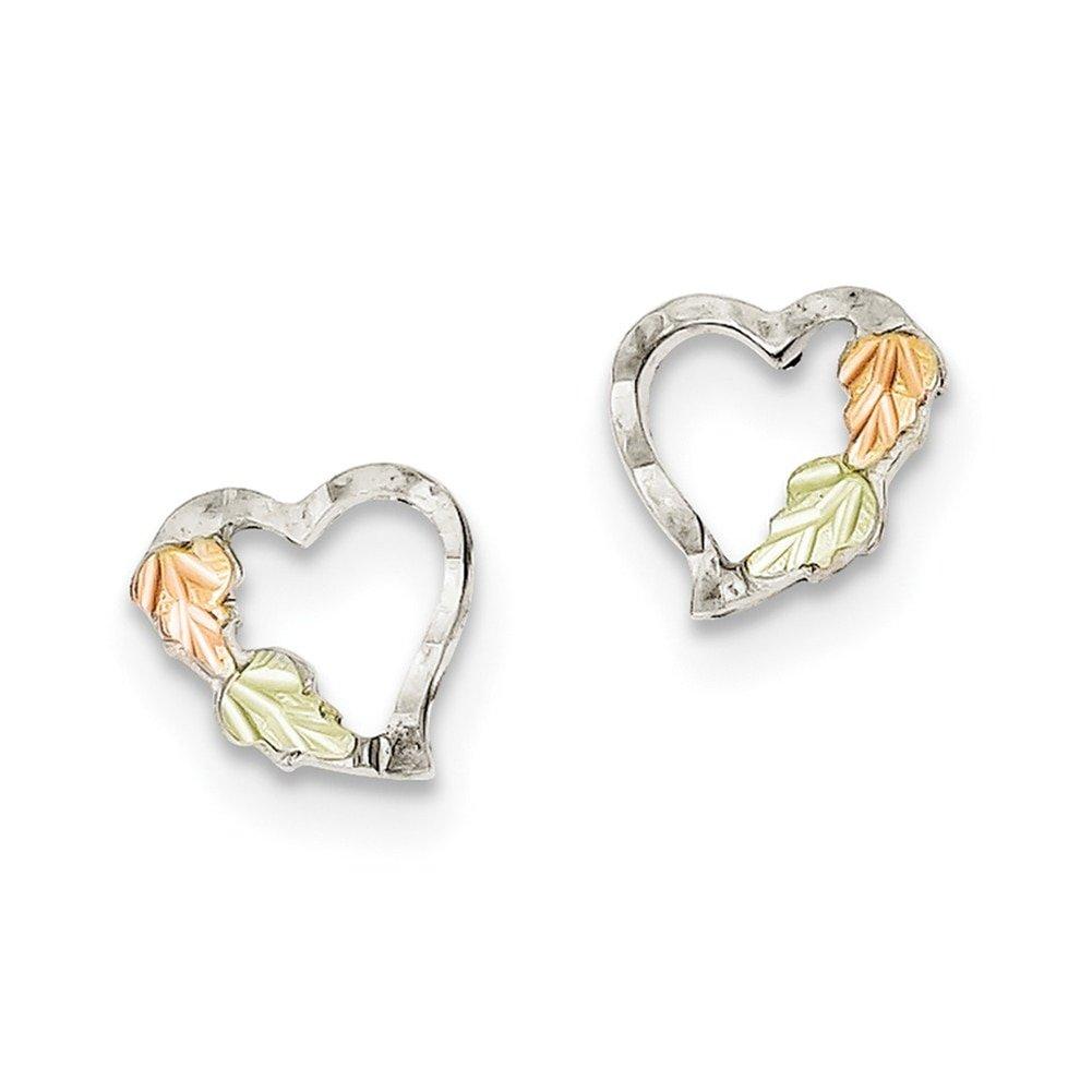 Lex /& Lu Sterling Silver /& 12K Heart Post Earrings LAL103416