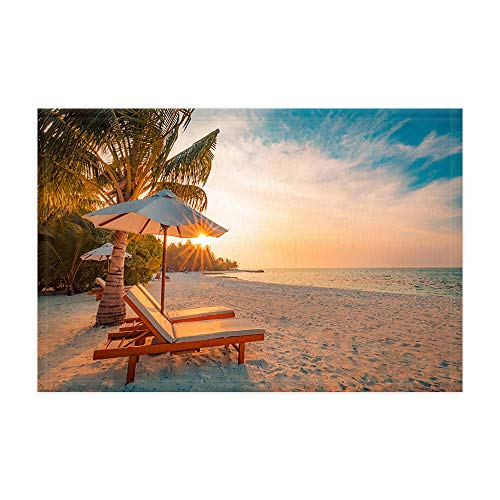 DYNH Beach Scene Bath Mat, Idyllic Tropical Beach Landscape Wallpaper Summer Holiday Natural Travel Scenery Bath Rugs, Flannel Non-Slip Floor Rug 15.7x23.6in Bathroom Accessories Carpet