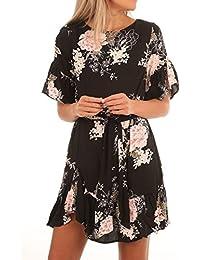 Womens Vintage Floral Pattern Ruffle Hem Chiffon Dress