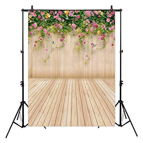 Allen Vision 6ft x 8ft Thin vinyl Photography backdrops Studio Senior Backgrounds Digital print flowers and wood -