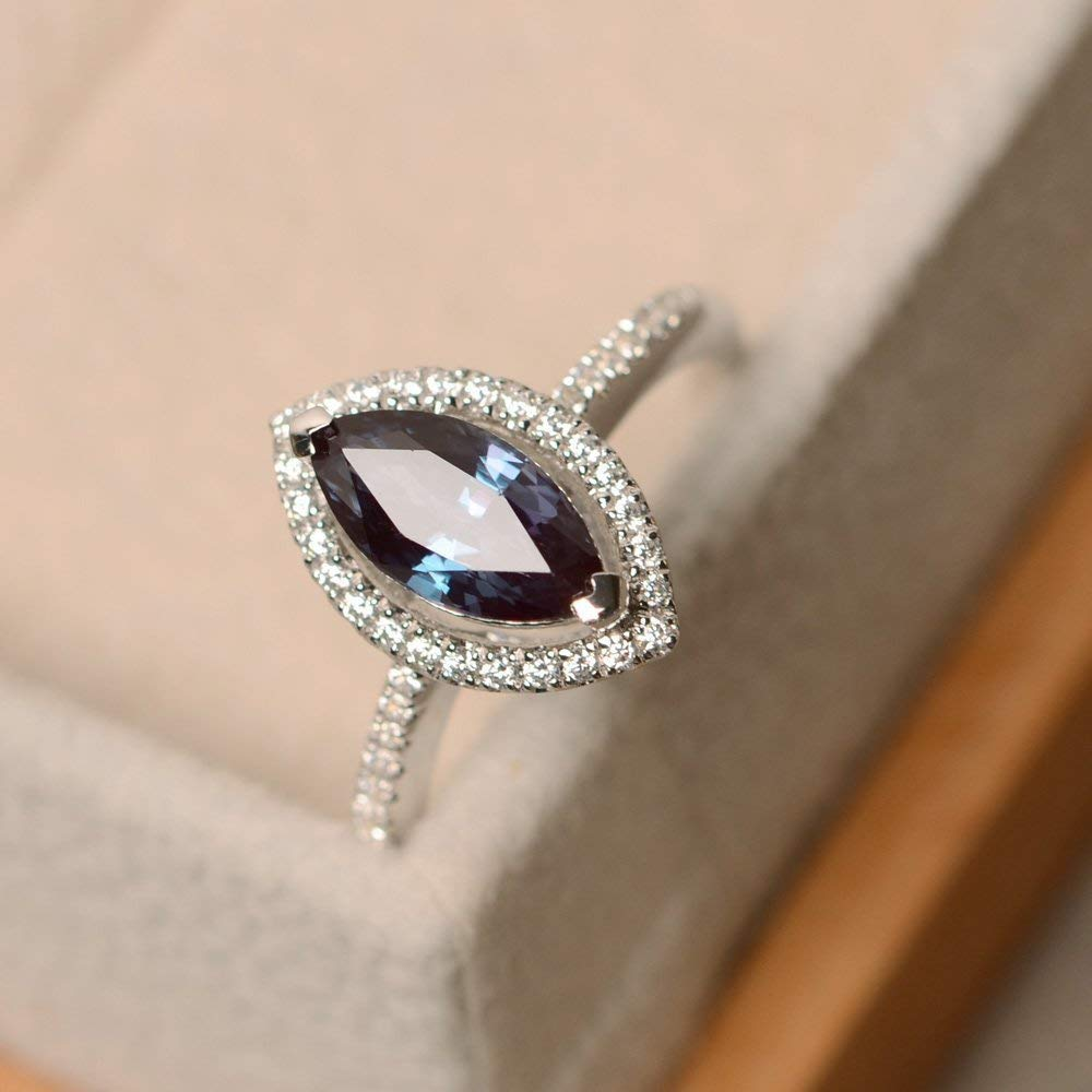 Marquise Cut Lab Alexandrite Rings Sterling Silver Customized Jewelry For Women Size 3-12