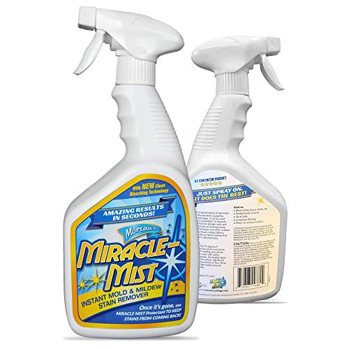 MiracleMist Instant Mold and Mildew Stain Remover for Indoor and Outdoor Use - Long Lasting Bathroom, Deck, Concrete, Vinyl, Tile Cleaner, 32 Oz (Best Cleaner For Mold On Walls)