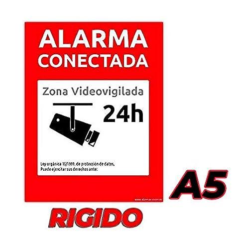 Carteles Alarma conectada disuasorio Zona vigilada 24h Color Rojo 24 Horas videovigilada vigilada disuasorios. Varios tamaños disponibles y tipos de carteles rígidos o pegatinas (2 PVC Rígido, A5): Amazon.es: Bricolaje y herramientas