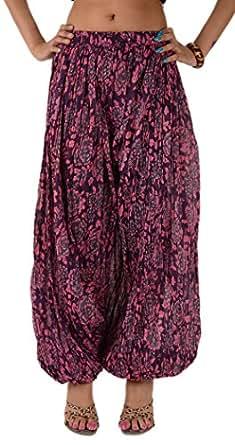 Women NEW Crinkled Printed Harem Pant Cotton Yoga Gypsy Bohemian Elastic (Blue)