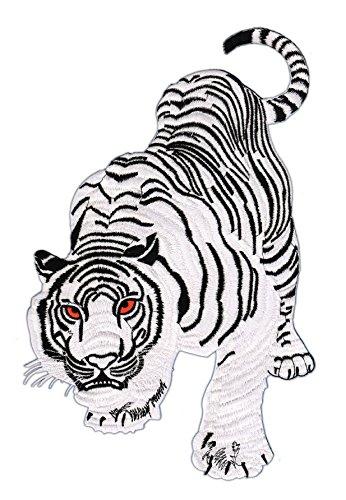 Weißer Tiger Backpatch Rückenaufnäher Xxl Ca 18 X 29 Cm Amazonde