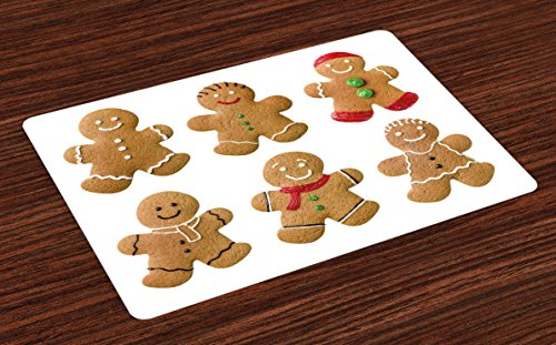 - Ambesonne Gingerbread Man Place Mats Set of 4, Vivid Homemade Biscuits Sugary Xmas Treats Sweet Tasty Pastry, Washable Fabric Placemats for Dining Room Kitchen Table Decor, Pale Brown Red Green