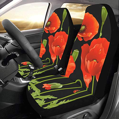 - Blood Red Color Flower Poppy Custom New Universal Fit Auto Drive Car Seat Covers Protector for Women Automobile Jeep Truck SUV Vehicle Full Set Accessories for Adult Baby (Set of 2 Front)