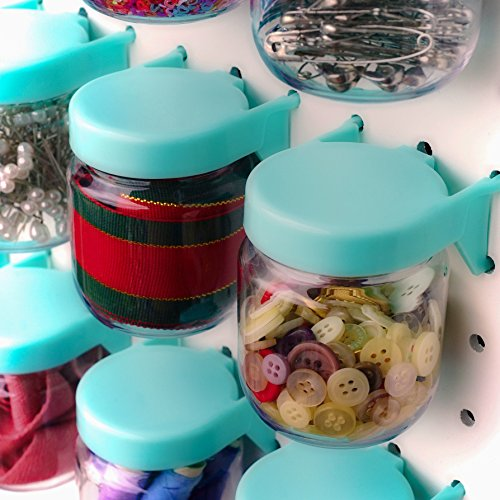 Pegboard Accessories Organizer Storage Jars - Crush & Impact Resistant Plastic Caddy Craft Jars - One-Handed Locking System - Garage Workbench, Crafting, Tools, Jewelry, Sewing - Set of 12 (Blue) by WORLD AXIOM (Image #2)