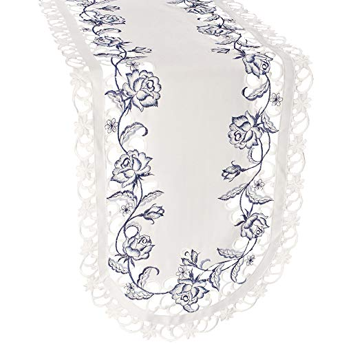 Linens, Art and Things Embroidered Table Runner Dresser Scarf Doily with Blue Roses on White Fabric, Size 36 x 15 inches - Roses Dresser Scarf