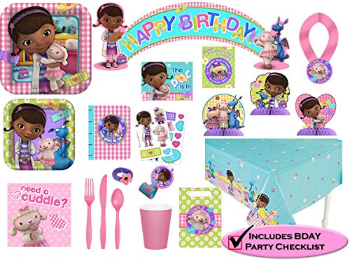 Doctor Mcstuffin Party Supplies (Disney Doc McStuffins Party Supplies Premium Set - Birthday Party Favors, Plates, Cups, Napkins and)