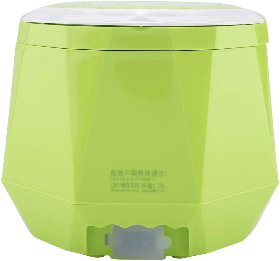 Electric Rice Cooker for Cars,1.3 L Electric Portable Multifunctional Rice Cooker Food Steamer for Home Cars (12V 100W)(green)